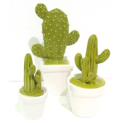 Porzellan-Topf Kaktusform 9 x 9 x 18,3 cm grün/weiss 082007