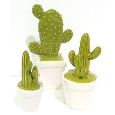 Porzellan-Topf Kaktusform 12,8 x 8,6 x 24,1 cm grün/weiss 082008