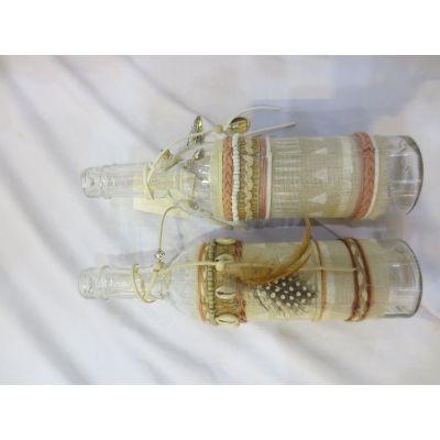 Glas-Flasche mit Feder 7 x 7 x 26 cm 101757