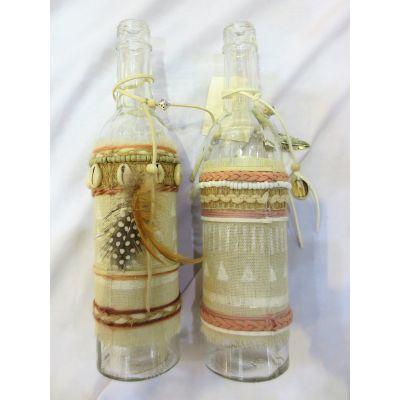 Glas-Flasche mit Dekoration 7 x 7 x 26 cm 101758