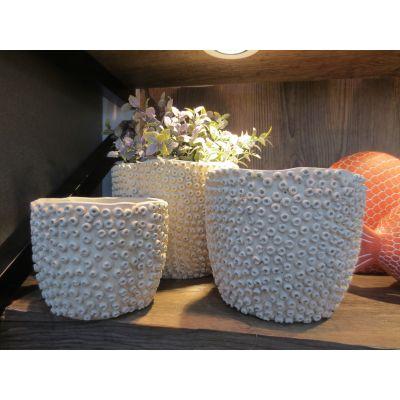 Zement-Topf Rom 13,5 x 13,5 x 11 cm weiss 102192