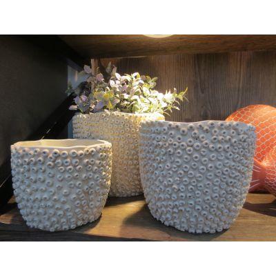 Zement-Topf Rom 19,5 x 19,5 x 15,5 cm weiss 102194