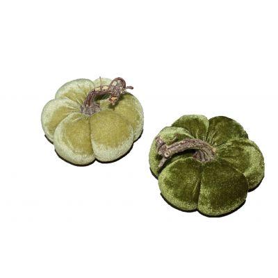 Samt-Kürbis 11cm (4) hellgrün/dunkelgrün 112551