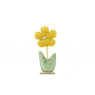 Stoff-Blume auf Holzständer 15 x 6 x 31 cm gelb 115841