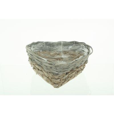 Weidenkorb Madeira Herzform 25 x 10 x 18 cm, grau gewaschen 115892