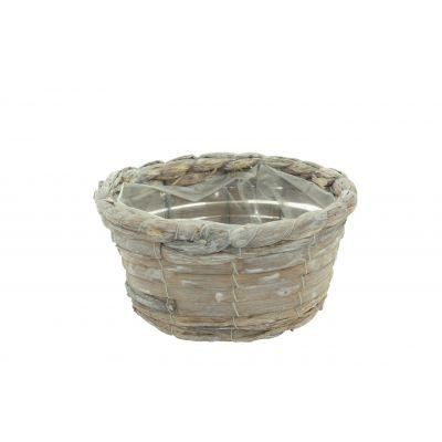 Bambus-Korb rund D 25 x 10 x 18,5 cm brown weiss washed 115928