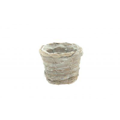 Bambus-Topf rund D 12,5 x 10 x 8,5 cm braun weiss washed 115937