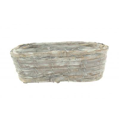Bambus-Korb oval 30x12,5 10 26x8,5 cm braun weiss washed 115940