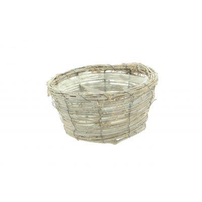 Rattan-Korb rund D 25 x 10 x 18,5 cm natur weiss washed 115945