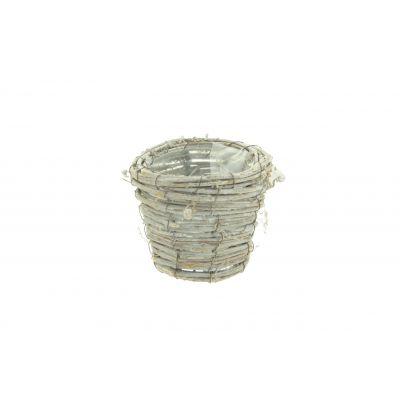 Rattan-Topf rund D 12,5 x 10, x 8,5 cm natur weiss washed 115954