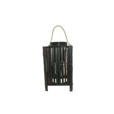 Bambus-Laterne mit Glas 23 x 23 x 40 cm antik schwarz 116368