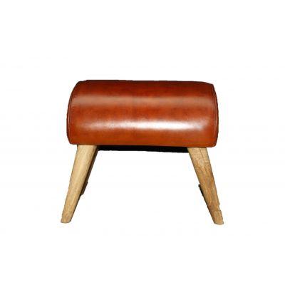 Leder-Sitz mit Holzbeinen 45 x 53 x 40 cm 116654