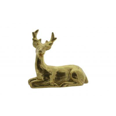 Keramik-Rentier sitzend 2ass 23,2x11,1x21,5cm, gold 118557