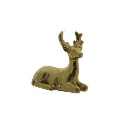 Keramik-Rentier sitzend 2ass 13x7x12,5cm, gold 118558
