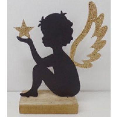 Metall-Engel auf Holzständer 19 x 16 x 4,5 cm 118857