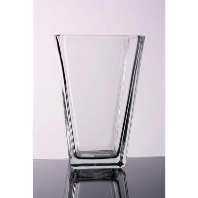 Glas Vase kon. eck. klar 11x11x17cm 066098