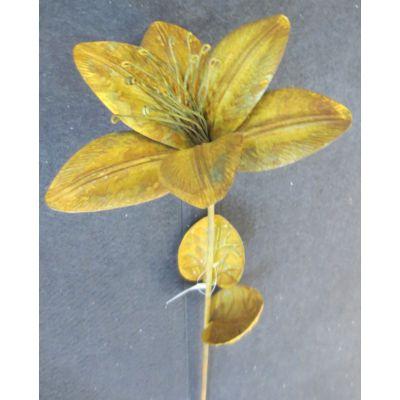 Metall-Blume am Stab 14,5 x 13 x 63,5 cm rost 094636
