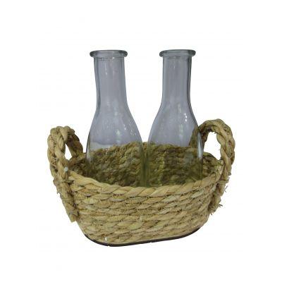 Seegras-Korb oval m. 2x Flaschen 18x12 8/12 15,5 x 8,5 cm 102887
