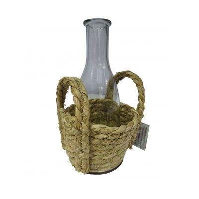 Seegras-Korb rd. m. 1x Flasche 12 8/12 8,5 cm 102888