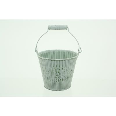 Metall-Eimer mit Holzhenkel gestreift 12 x 10 x 8,5 cm Flowergarden grün-weiss 110595