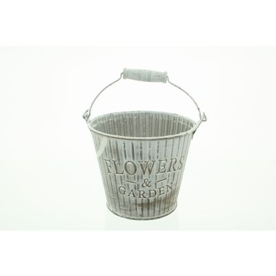 Metall-Eimer mit Holzhenkel gestreift 12 x10 x 8,5 cm Flowergarden braun-weiss 110598