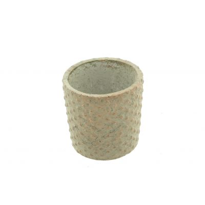 Zement-Topf  Lagos rund 14,5 x 14,5 x 14,5 cm antik ku 110605