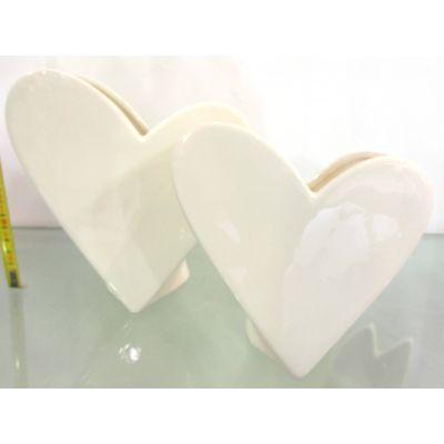 Porzellan-Vase Herzform weiss 13,6 x 6,2 x 13,7 cm 012079