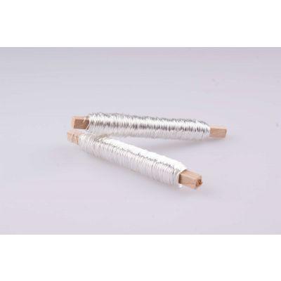 LACKDRAHT silber ( 100 Gr.) auf Holzstab 019234