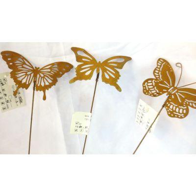 Metallstecker Schmetterling 30 x 9 cm ass  rost 080372